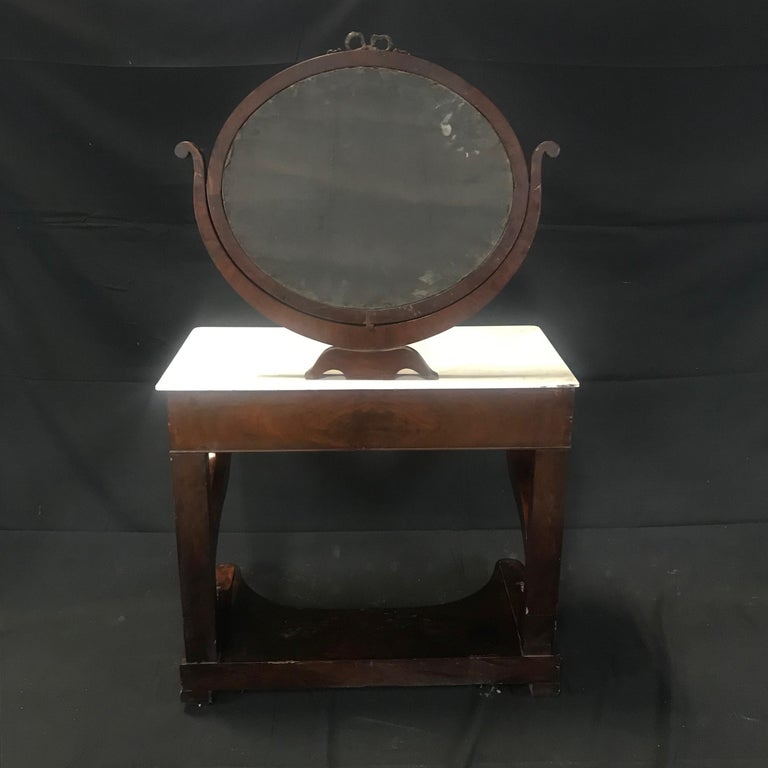 Ornate Lavish Charles X Mahogany Empire Dressing Table For Sale 14
