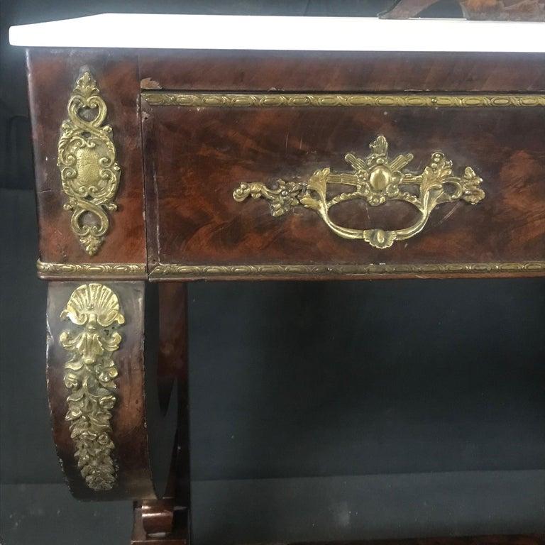 19th Century Ornate Lavish Charles X Mahogany Empire Dressing Table For Sale