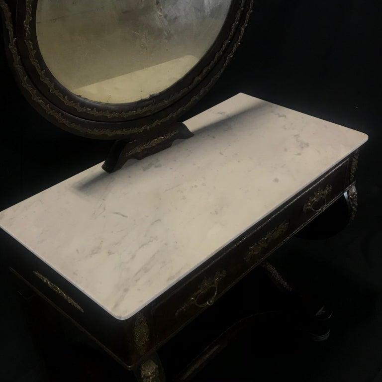 Ornate Lavish Charles X Mahogany Empire Dressing Table For Sale 1