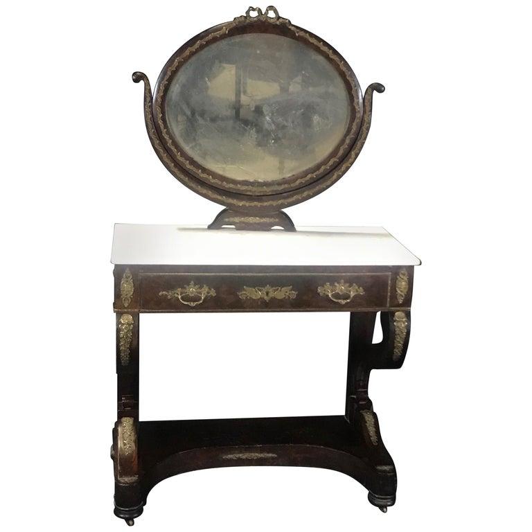 Ornate Lavish Charles X Mahogany Empire Dressing Table For Sale