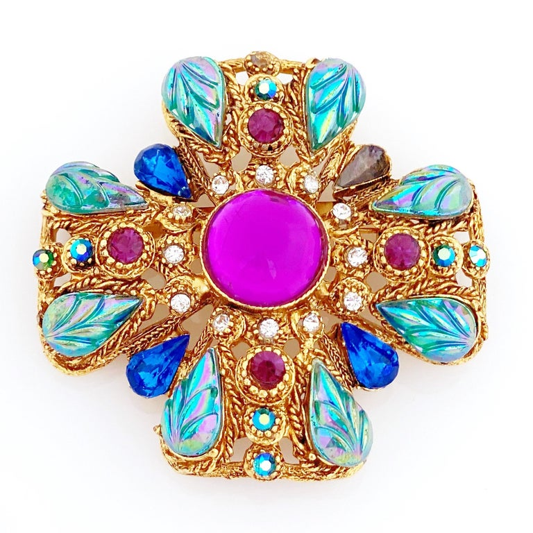 Women's Ornate Maltese Cross Brooch With Molded Glass & Rhinestones By Florenza, 1960s For Sale