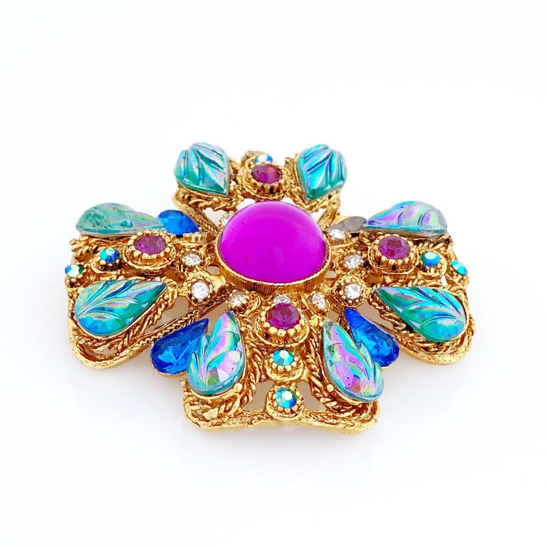 Ornate Maltese Cross Brooch With Molded Glass & Rhinestones By Florenza, 1960s For Sale 1