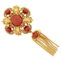Ornate Medallion Brooch w Red Cabochons & Gold Fringe Tassel By Florenza, 1970s