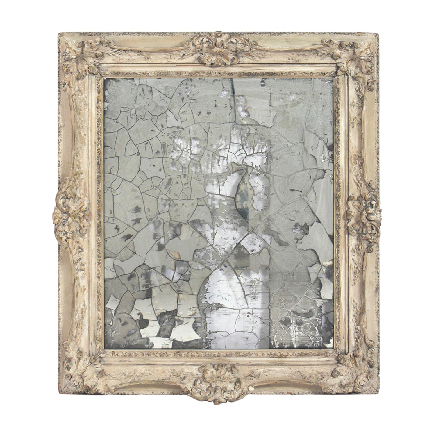 Ornate Mirror with Original Ultra Distressed Silvering