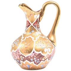Ornate Moser Glass Enamel and Gilt Pitcher or Ewer, 19th Century
