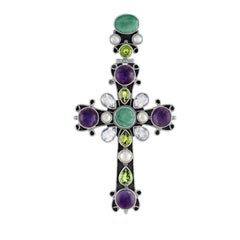 Ornate Multi-Gem Sterling Silver Large Cross Pendant