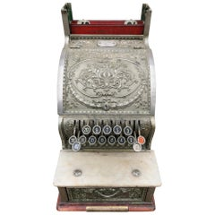 Ornate Nickel Coated Brass Antique Cash Register