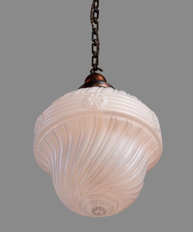 English Ornate Opaline Glass Pendant, England circa 1900 For Sale