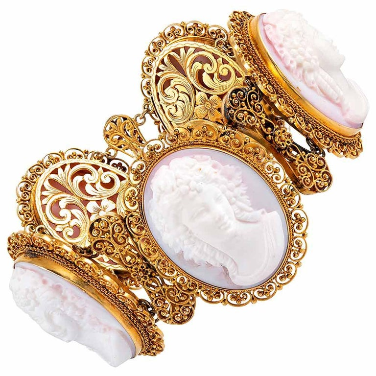 """Ornate Pink Shell Cameo Suite with Golden Filigree, Signed """"Quaglia & Forte"""" For Sale"""
