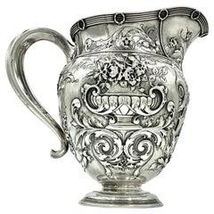 Ornate Renaissance Style Antique Large Gorham Sterling Silver Pitcher, 1880
