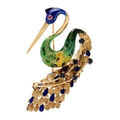 Ornate Retro Enamel Peacock Bird Brooch Ruby and Sapphire Accents, circa 1970s