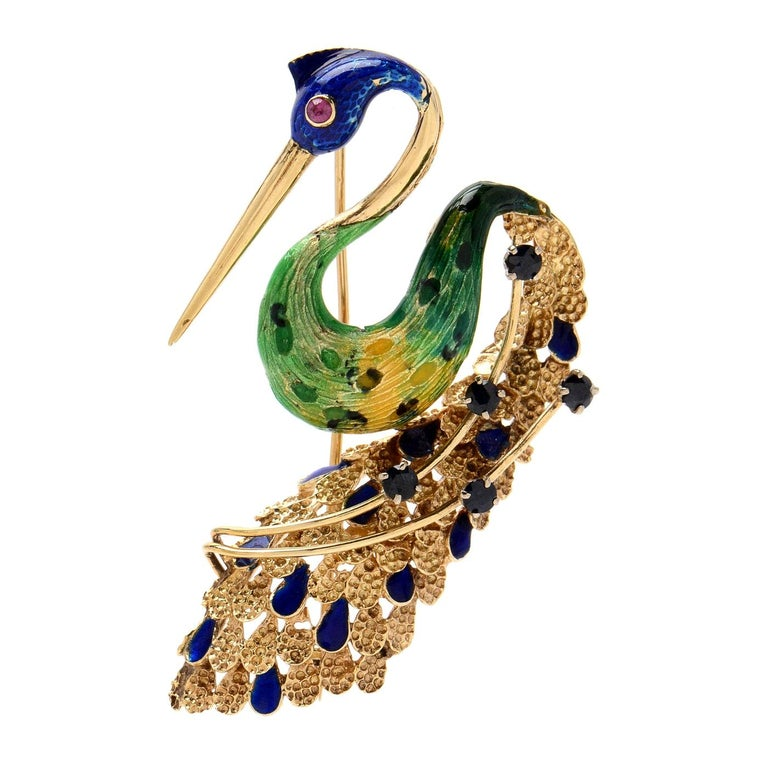 Ornate Retro Enamel Peacock Bird Brooch Ruby and Sapphire Accents, circa 1970s For Sale