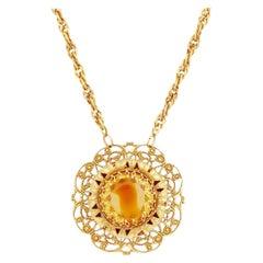Ornate Rivoli Crystal Medallion Necklace, 1960s