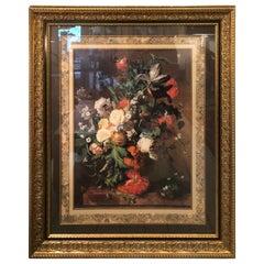 Ornate Romantic Floral Still Life Print in Impressive Frame