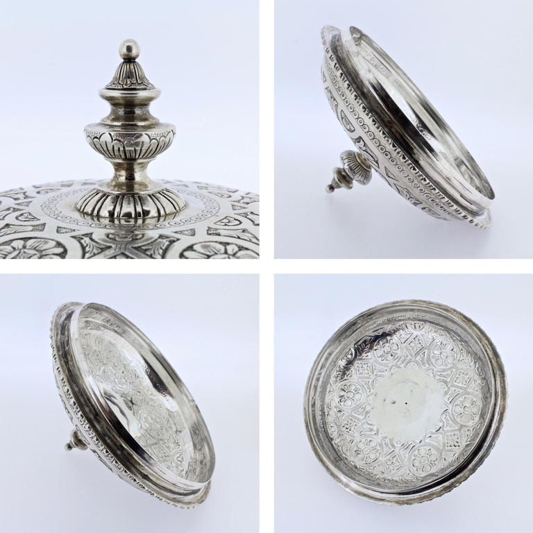 Ornate Sarmento Portuguese Solid Silver Covered Dresser Box or Humidor For Sale 6