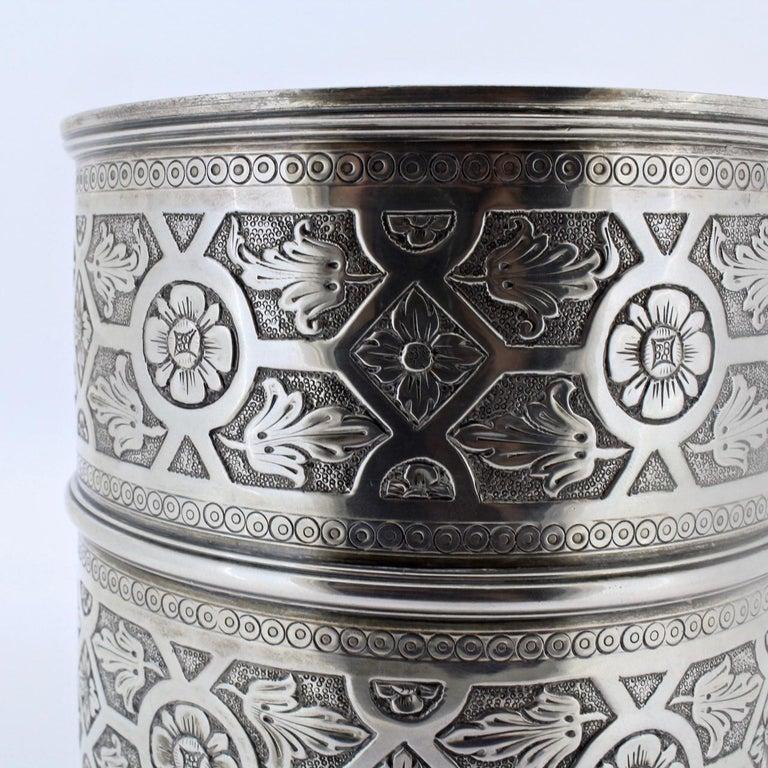 Ornate Sarmento Portuguese Solid Silver Covered Dresser Box or Humidor For Sale 7