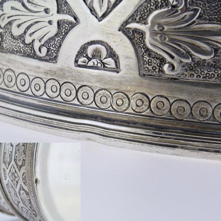 Ornate Sarmento Portuguese Solid Silver Covered Dresser Box or Humidor For Sale 8