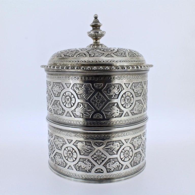 Ornate Sarmento Portuguese Solid Silver Covered Dresser Box or Humidor In Good Condition For Sale In Philadelphia, PA