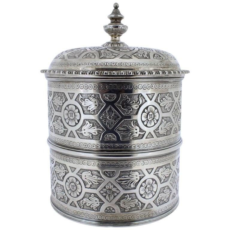 Ornate Sarmento Portuguese Solid Silver Covered Dresser Box or Humidor For Sale
