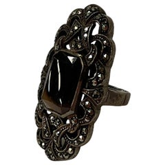 Ornate Sterling Silver and Marcasite Ring