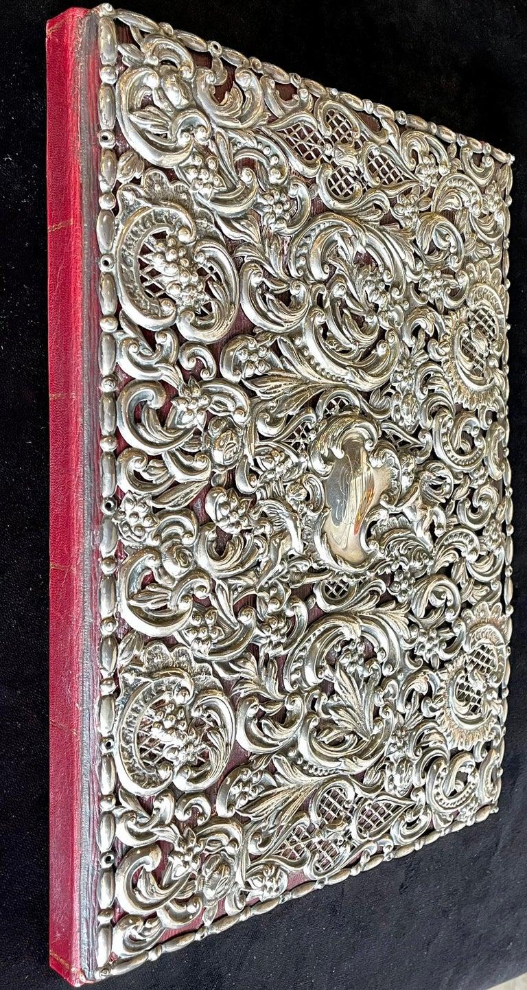 Ornate Sterling Silver Book Cover Photo Scrap Album w Red Leather Interior For Sale 5