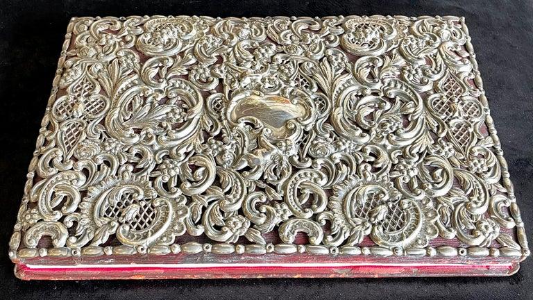 Ornate Sterling Silver Book Cover Photo Scrap Album w Red Leather Interior For Sale 6