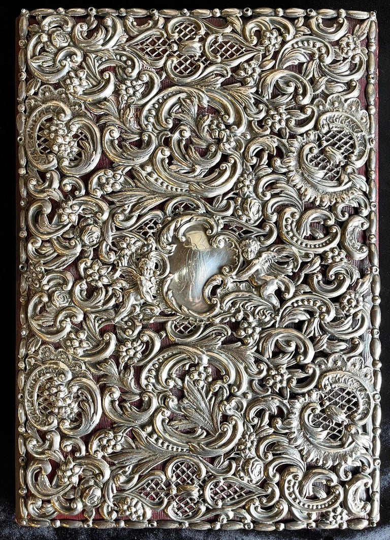 Early Victorian Ornate Sterling Silver Book Cover Photo Scrap Album w Red Leather Interior For Sale