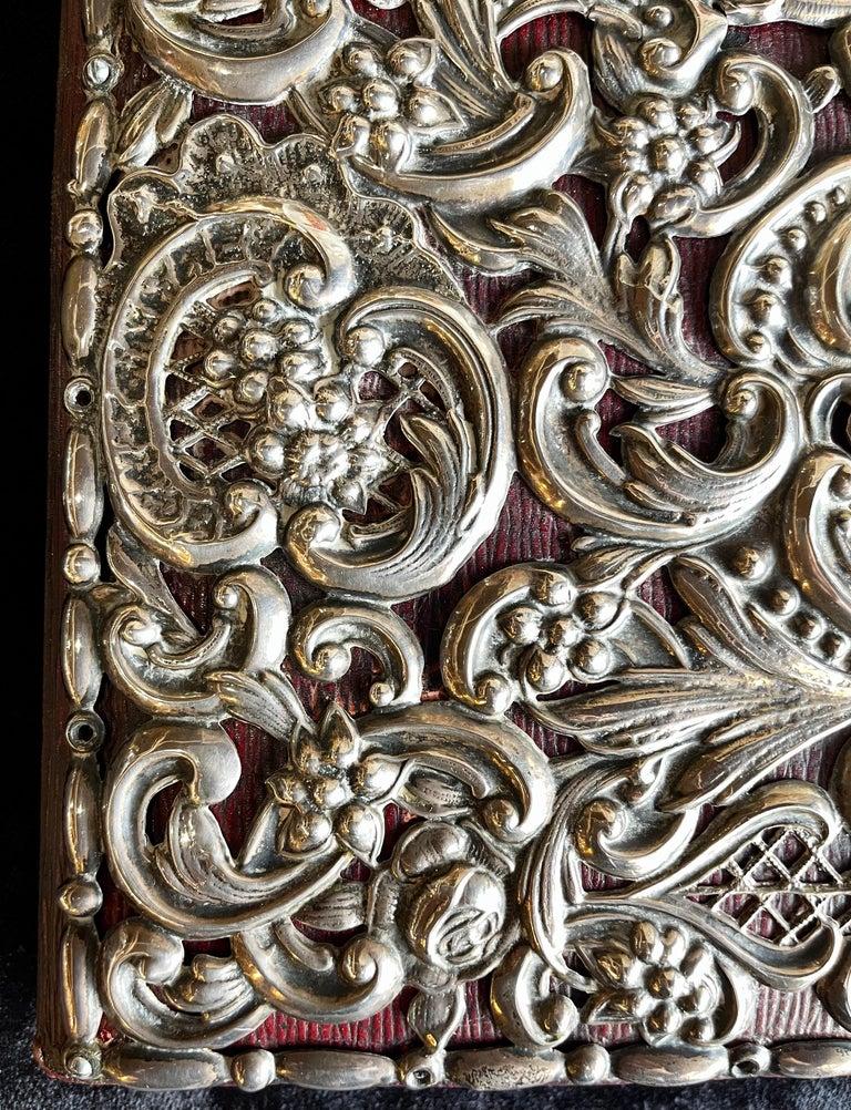 20th Century Ornate Sterling Silver Book Cover Photo Scrap Album w Red Leather Interior For Sale
