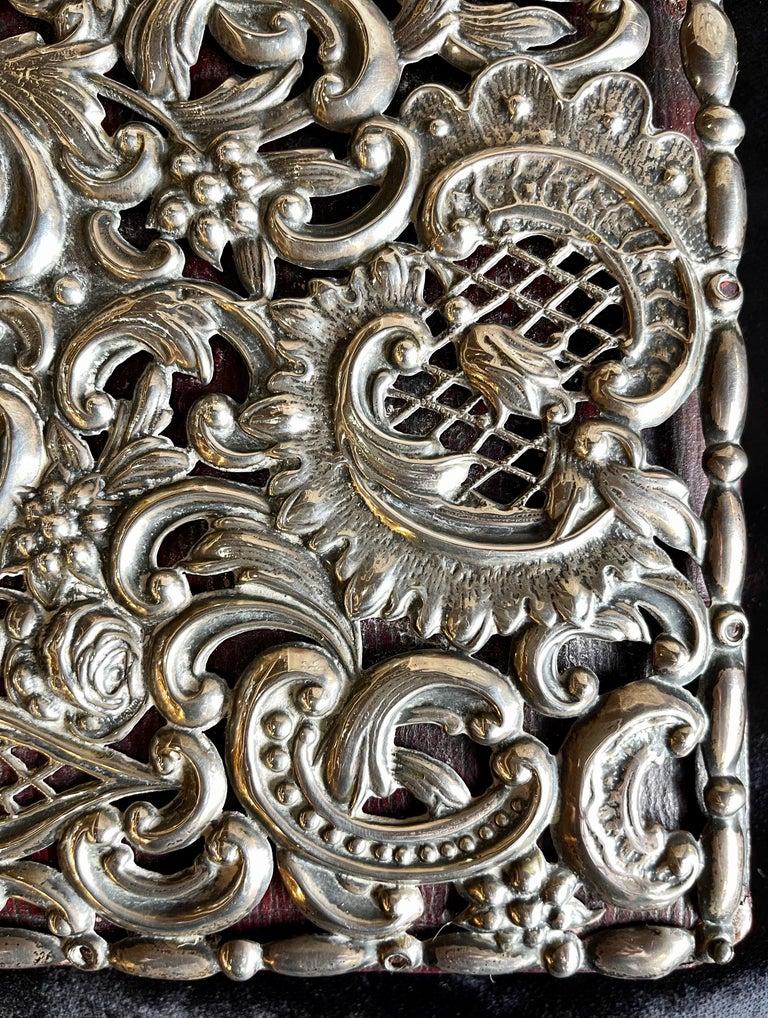 Ornate Sterling Silver Book Cover Photo Scrap Album w Red Leather Interior For Sale 1