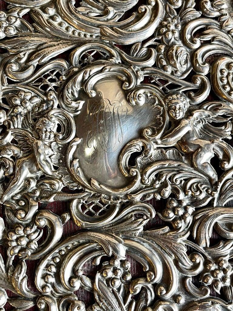 Ornate Sterling Silver Book Cover Photo Scrap Album w Red Leather Interior For Sale 2