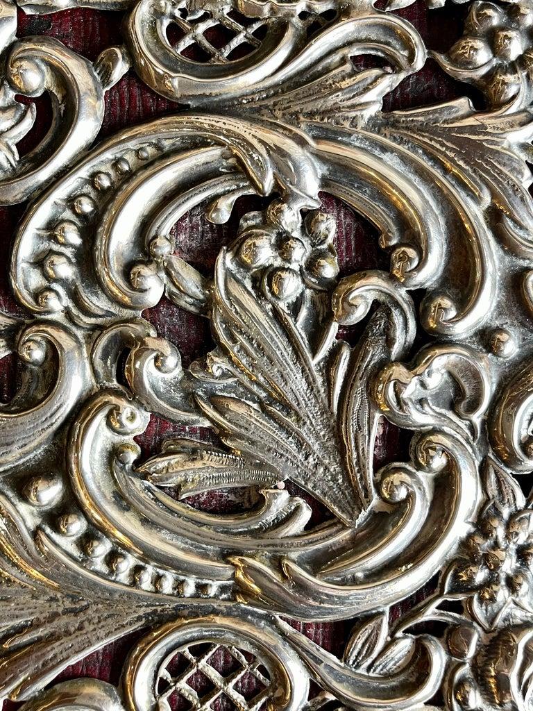 Ornate Sterling Silver Book Cover Photo Scrap Album w Red Leather Interior For Sale 3