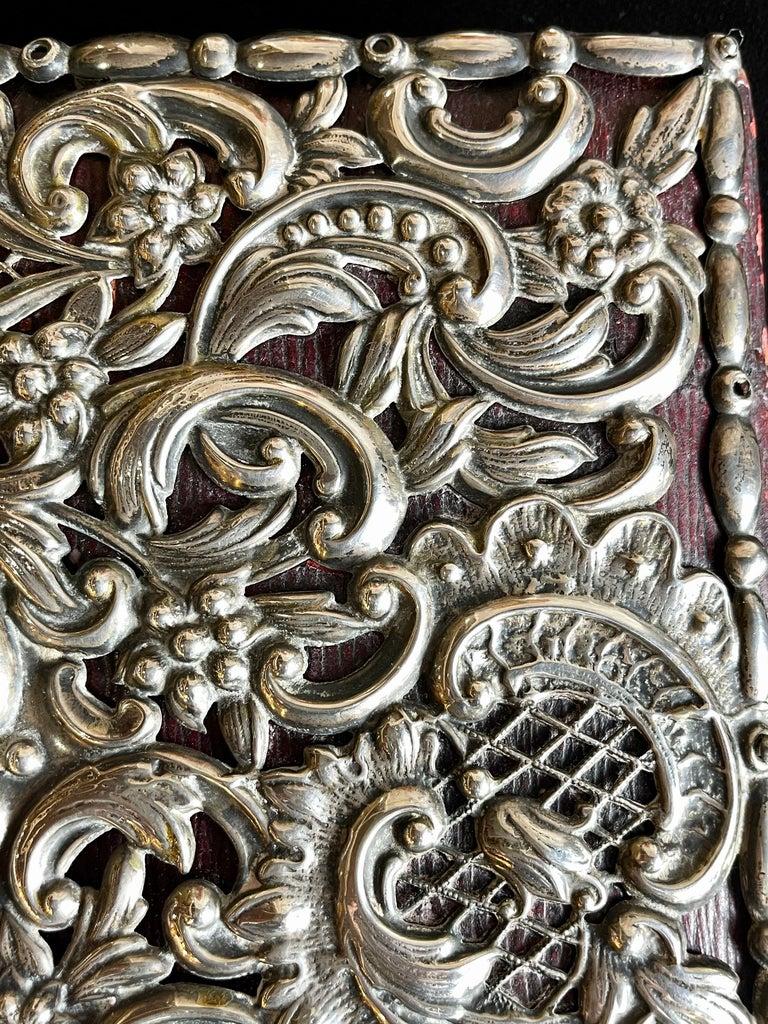Ornate Sterling Silver Book Cover Photo Scrap Album w Red Leather Interior For Sale 4