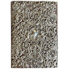 Ornate Sterling Silver Book Cover Photo Scrap Album w Red Leather Interior