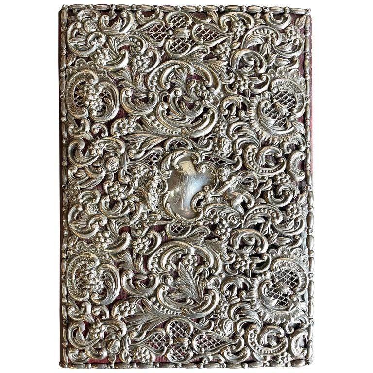 Ornate Sterling Silver Book Cover Photo Scrap Album w Red Leather Interior For Sale