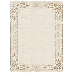 Ornate Stucco Antique White Hand-Knotted Wool and Bamboo Silk Rug