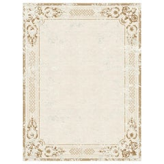 Ornate Stucco Antique White - Cpntemporary Design Hand Knotted Wool Viscose Rug
