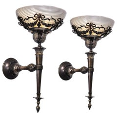 Ornate Swirled Vaseline Glass and Bronze Sconces