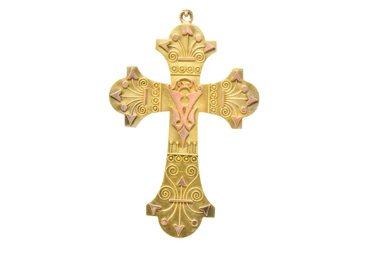 Ornate Victorian 14 Karat Rose Gold Yellow Gold Cross Necklace In Excellent Condition For Sale In Philadelphia, PA