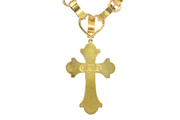 Ornate Victorian 14 Karat Rose Gold Yellow Gold Cross Necklace For Sale 4
