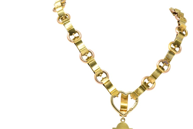 Ornate Victorian 14 Karat Rose Gold Yellow Gold Cross Necklace For Sale 5