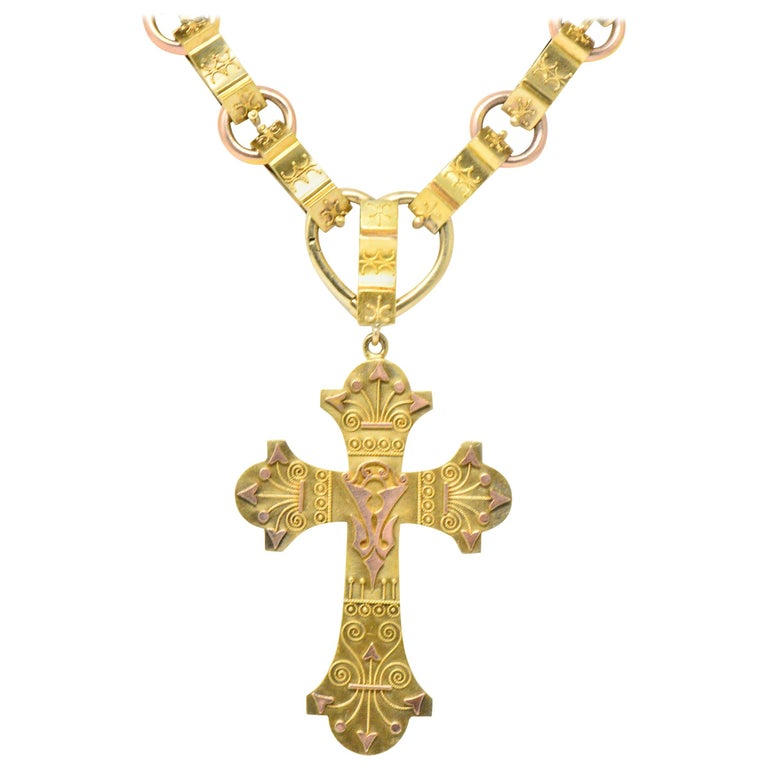 Ornate Victorian 14 Karat Rose Gold Yellow Gold Cross Necklace For Sale
