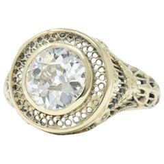Viktorianischer 1,61 Karat Alteuropäischer Diamant 14 Karat Gold Verlobungsring