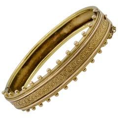 Ornate Victorian Bangle Bracelet in 14 Carat Gold