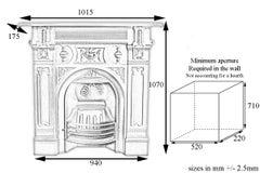 Ornate Victorian Cast Iron Combination Fireplace Grate