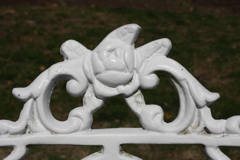 Ornate Victorian Style Garden Dining Set in Cast Aluminum For Sale 5