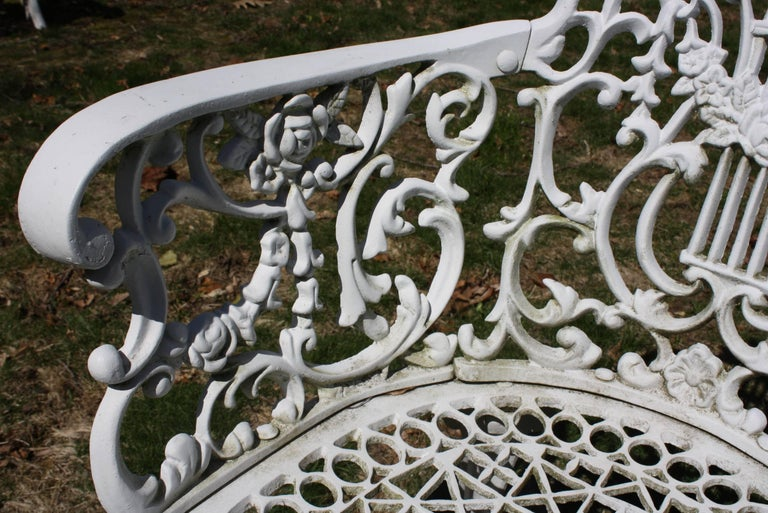 Ornate Victorian Style Garden Dining Set in Cast Aluminum For Sale 6