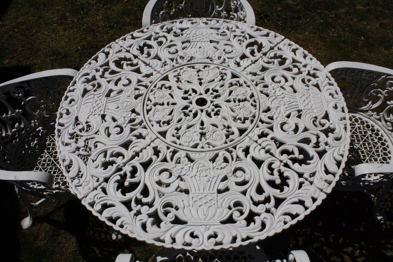 Ornate Victorian Style Garden Dining Set in Cast Aluminum For Sale 7