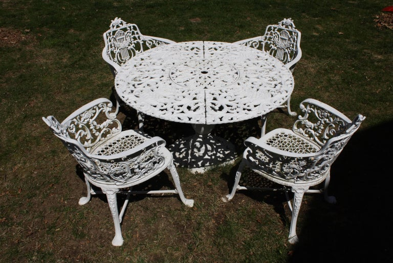 American Ornate Victorian Style Garden Dining Set in Cast Aluminum For Sale