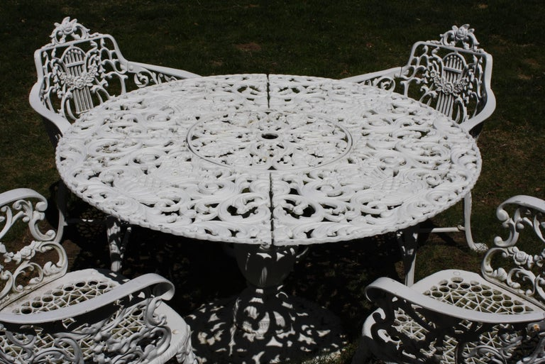 Ornate Victorian Style Garden Dining Set in Cast Aluminum In Good Condition For Sale In Pembroke, MA