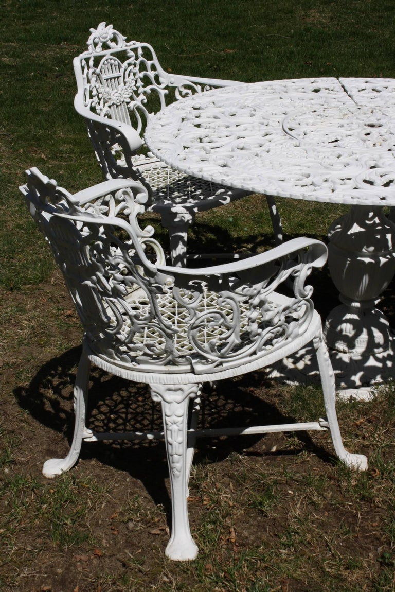 20th Century Ornate Victorian Style Garden Dining Set in Cast Aluminum For Sale
